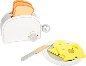 small foot wooden toys Breakfast Set Including Toaster, Toast and Much More a Complete playset for Play Kitchens Designed for Children Ages 3+
