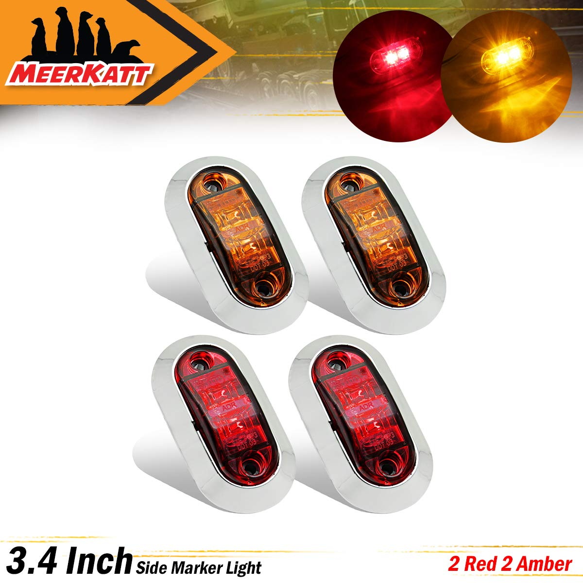 Meerkatt 2.5 Inch Oval Amber Surface Mount LED Clearance Lamp Side Marker Lights Waterproof Sealed Bulb w//Chrome Bezel Truck RV Lorry Trailer Bus Jeep Van Tow Multi-Volt 10-30V DC LM-CHS Pack of 2