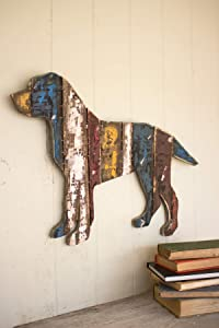 KALALOU Reclaimed Wood Dog Wall Hanging, One Size, Multicolor