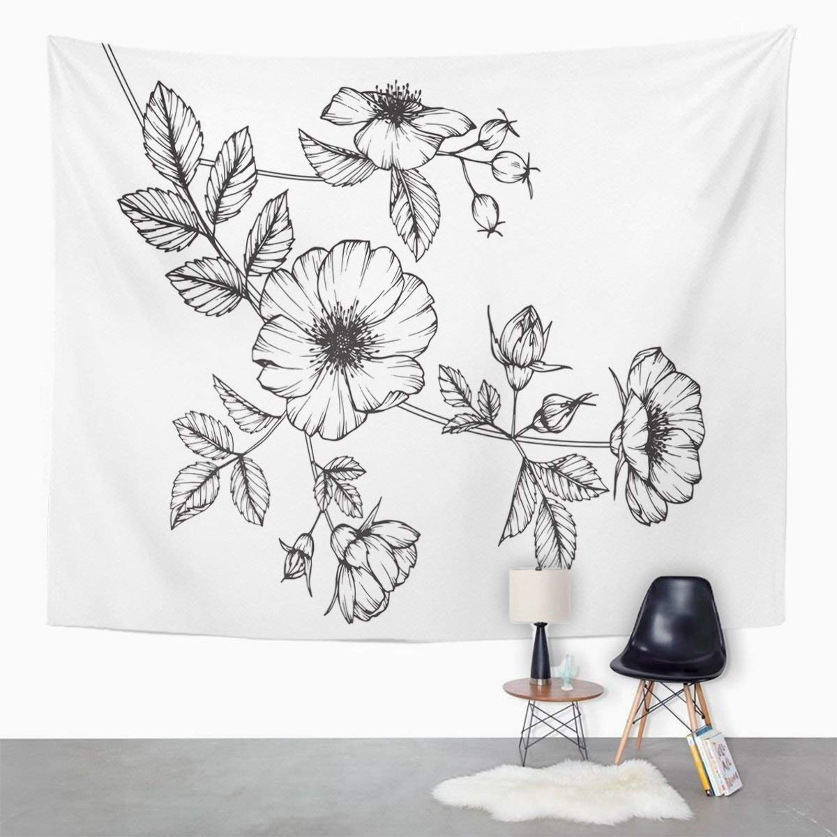 Amazon TOMPOP Tapestry Black Wild Rose Flowers Drawing Sketch Line On White Botanical Home Decor Wall Hanging Living Room Bedroom Dorm 50x60 Inches