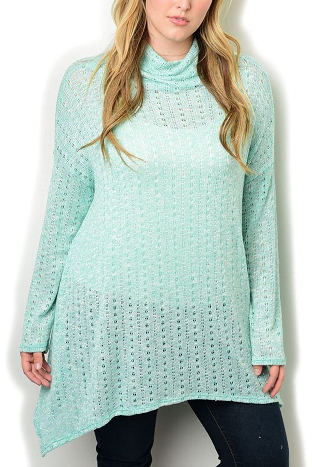 DHStyles Women's Plus Size Knit Cowl Neck Tunic Sweater Top