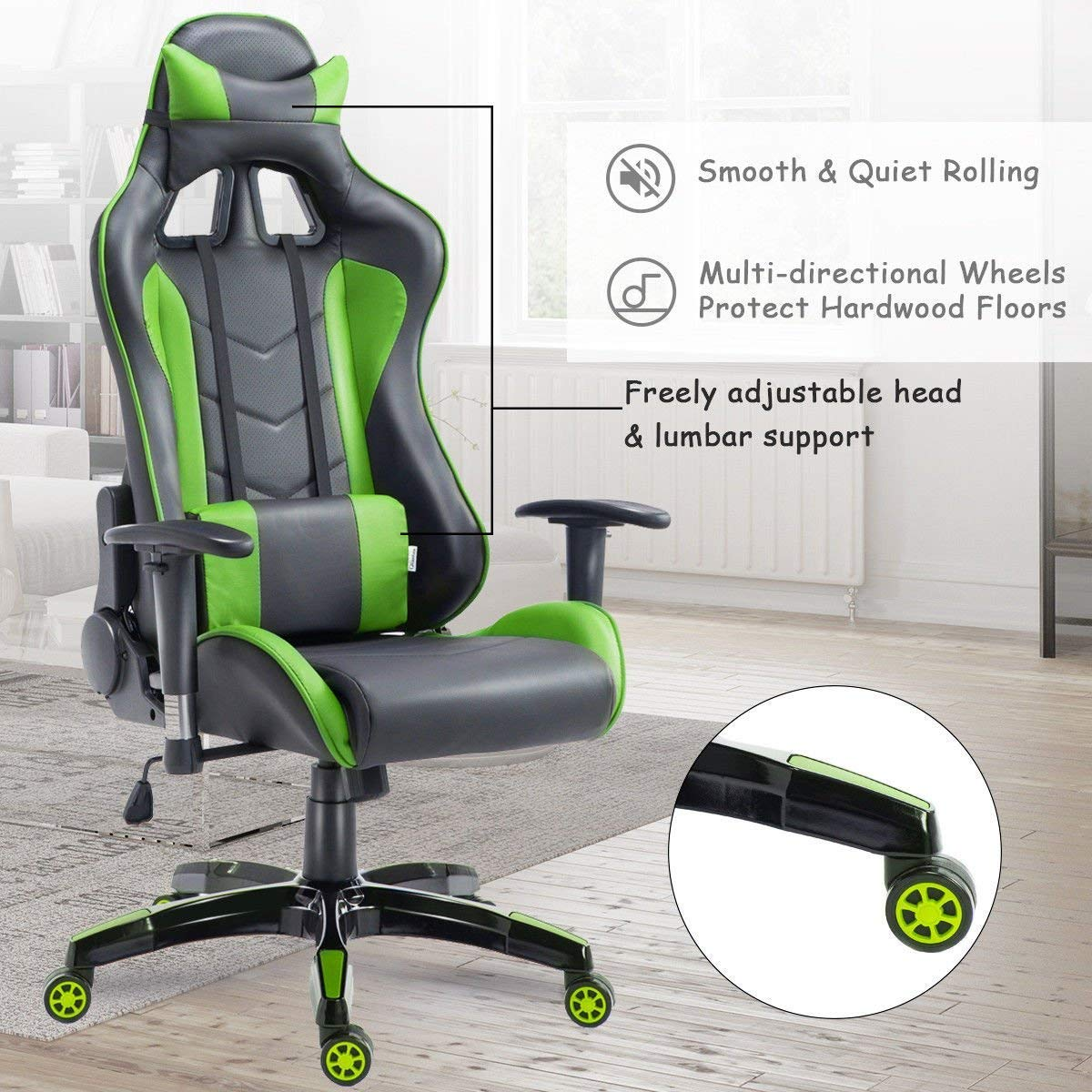 Black /& Yellow COSTWAY High Back Executive Racing Reclining Gaming Swivel PU Leather Office Chair Green