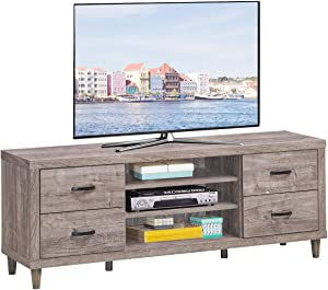 "Tangkula Farmhouse TV Stand, Retro Wood Universal Stand for TV's up to 65"" Flat Screen, 4 Drawers & 3 Open Shelves with 7 Adjustable Heights, 6 Legs Sturdy Structure, Rustic TV Console Table, Grey"