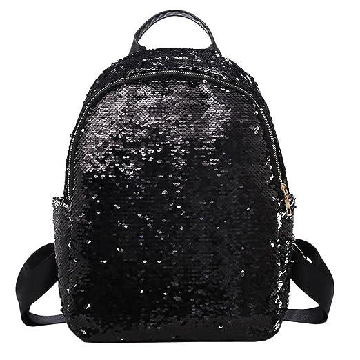 Transer Glitter Sequins Leather Backpack School Bags Travel Bag Bookbag for  Women Teenage Girls (Black eda3f42c663b9