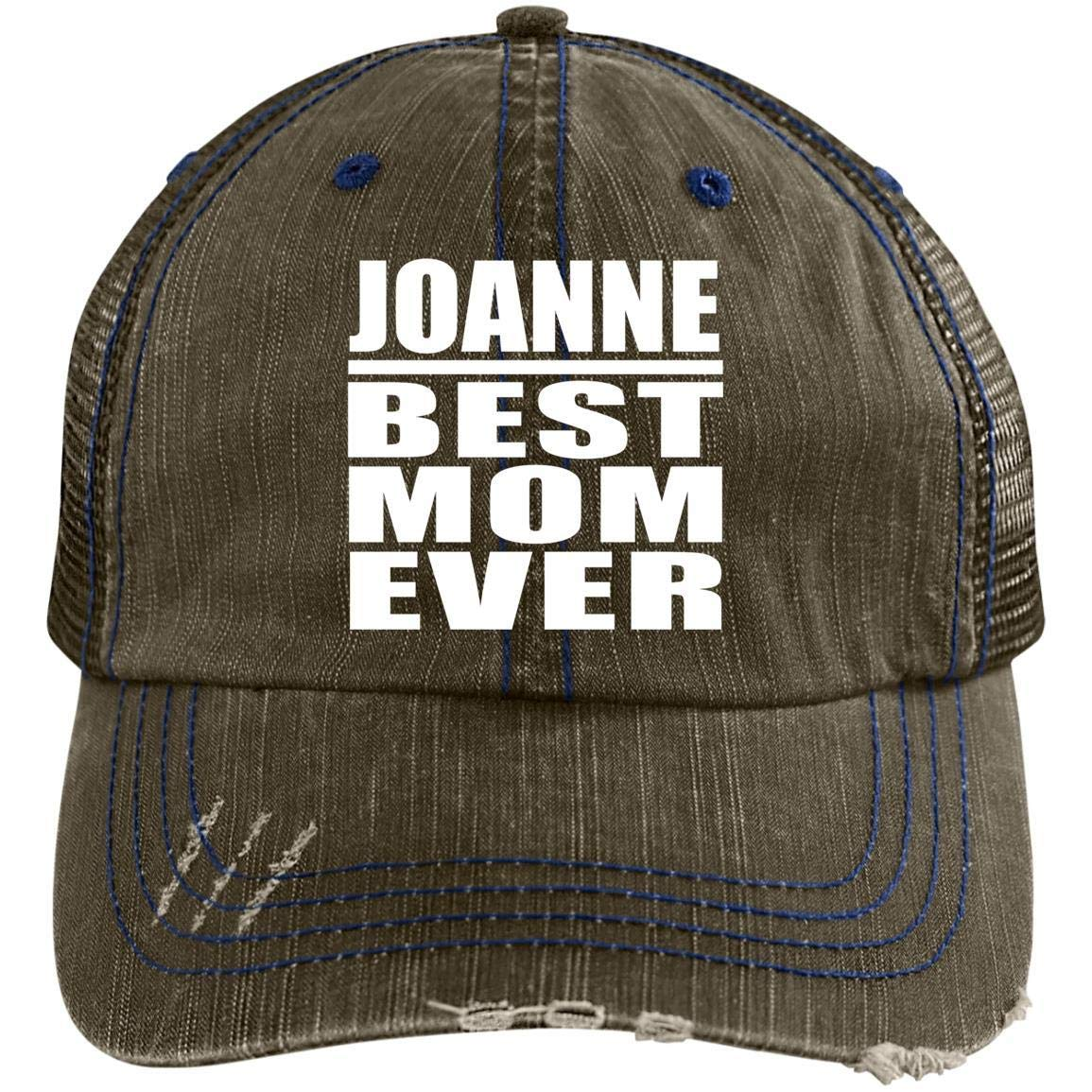 24a795dc4 Amazon.com: Joanne Best Mom Ever - Distressed Trucker Cap Black/Grey ...