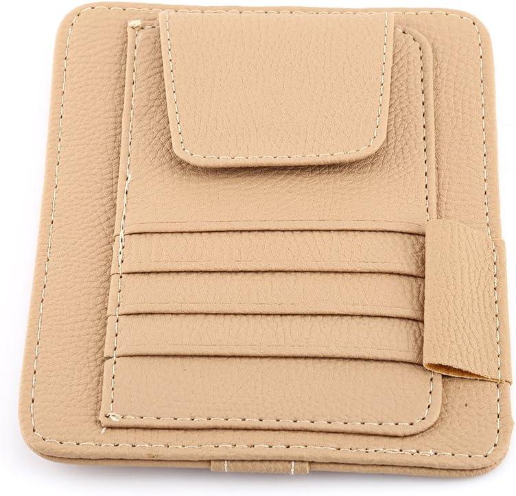 Qiilu QL01770 Auto Car Sun Visor Organizer Pouch Bag Storage Card Holder Clip di supporto Orange
