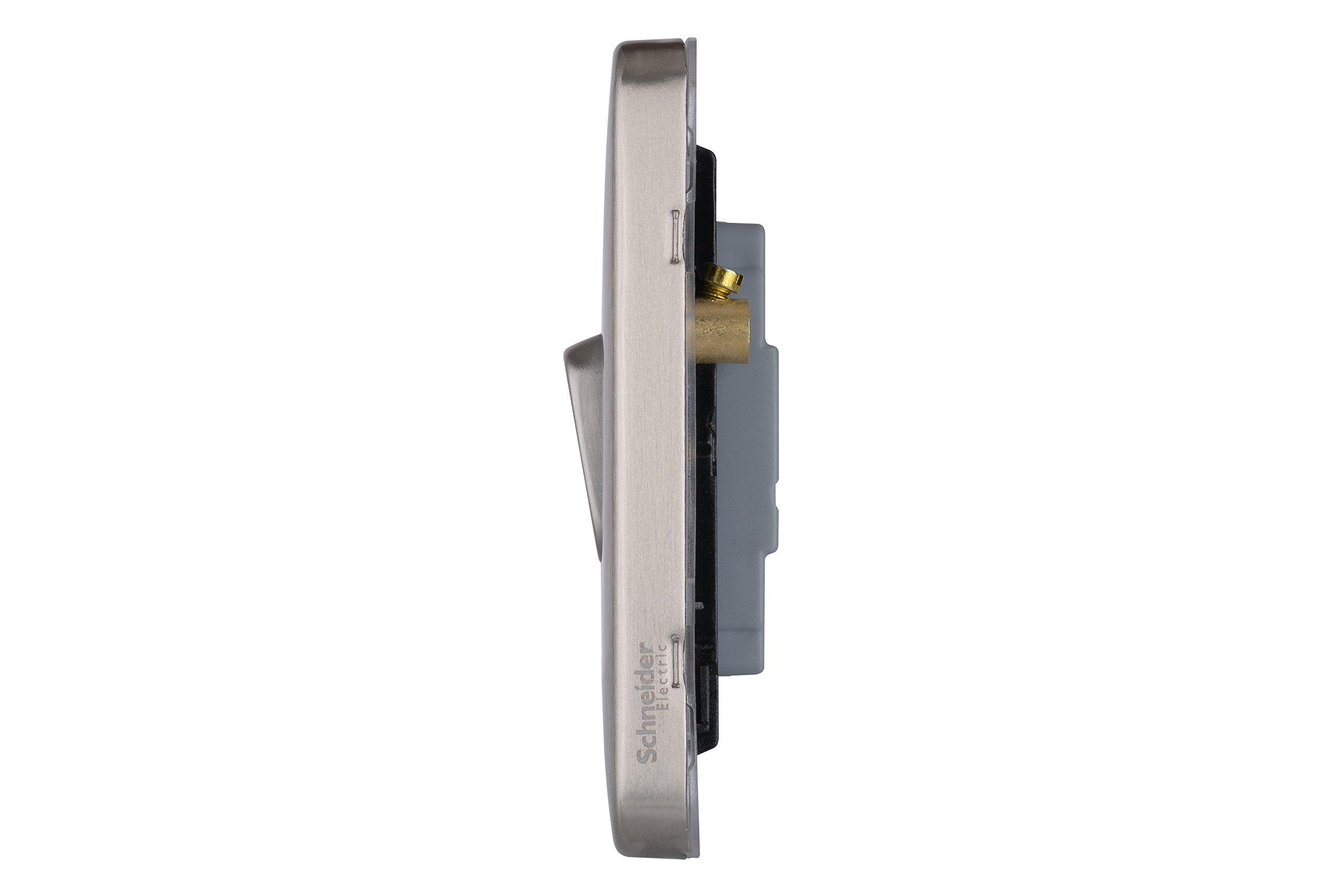 Schneider Electric GGBL1022BSBS Lisse 2 W lat/ón Satinado 10 AX 2G BSB 240 V Interruptor sin Tornillos