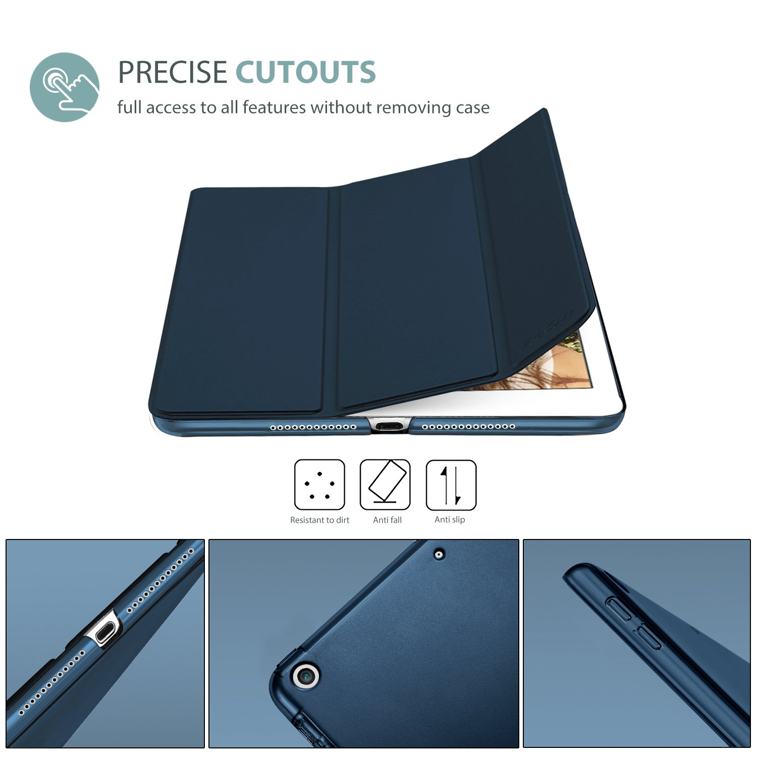 ProCase iPad 9.7 Case 2018 iPad 6th Generation Case / 2017 iPad 5th Generation Case - Ultra Slim Lightweight Stand Case with Translucent Frosted Back Smart Cover for Apple iPad 9.7 Inch -Navy Blue by ProCase (Image #2)