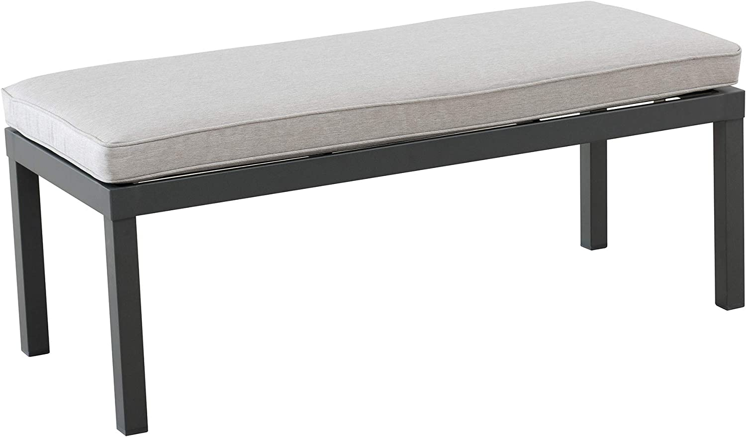 """Amazon Brand - Ravenna Home Archer Steel-Framed Outdoor Patio Dining Bench with Removable, Water-Resistant Cushion, 48""""W, Gray"""