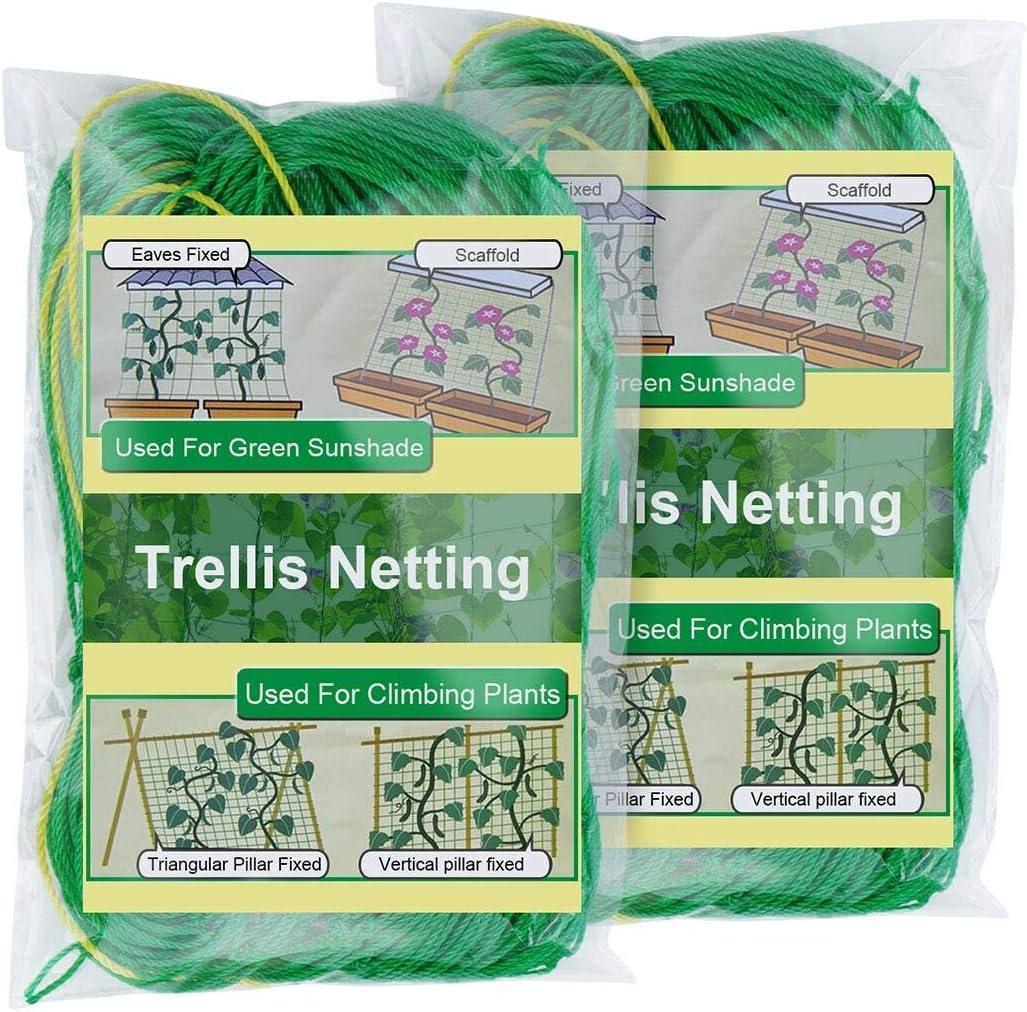 Zivisk 2 Pack Trellis Netting for Climbing Plants,3Ft x 6Ft Heavy Duty Garden Net Support for Cucumber,Vegetables,Tomatoes,Vine,4