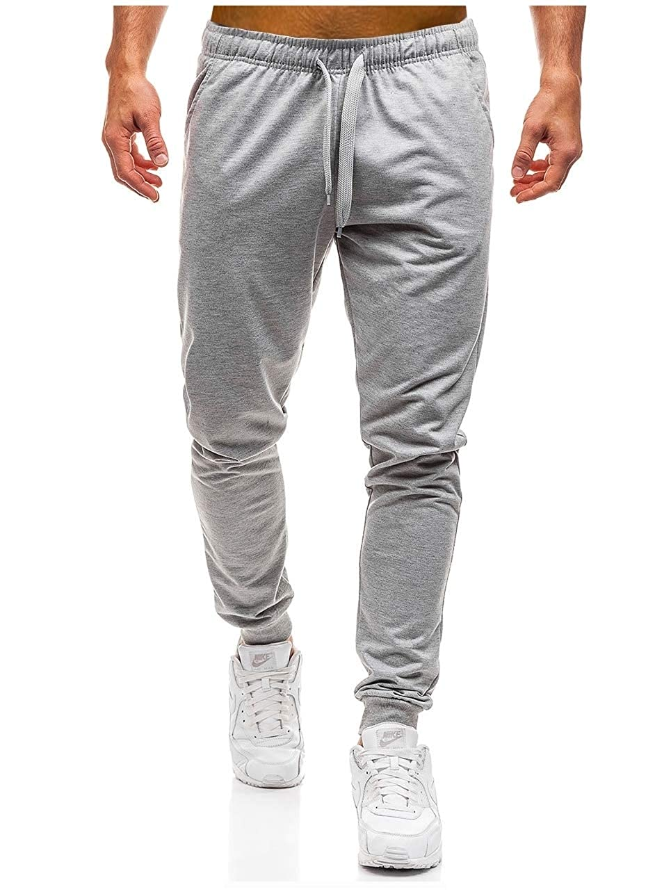 DressU Mens Solid-Colored Athletic Comfort Relaxed-Fit Leisure Harem Trousers