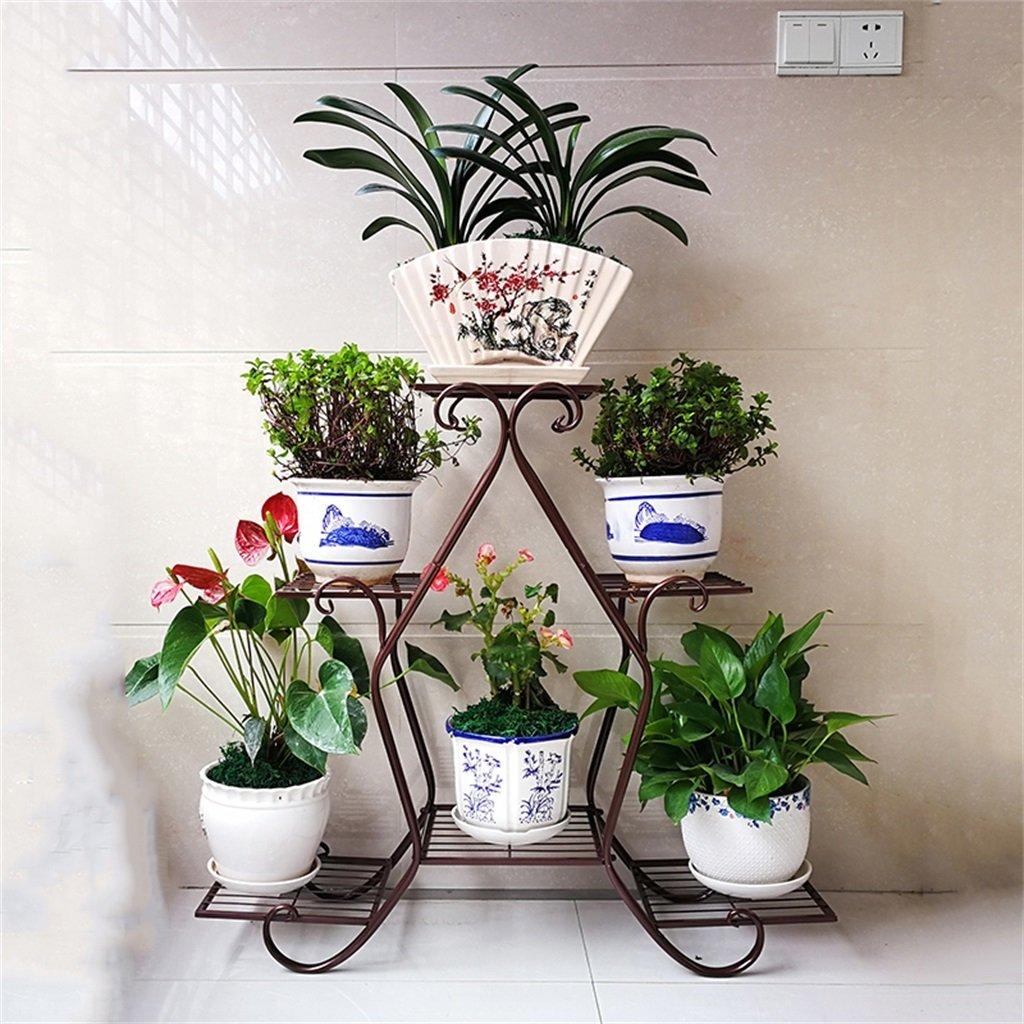Chengxin Shop-アウトドアプラントスタンド/マルチティアフラワーラック/ディスプレイプラントステップメタルスタンド/プラントラダー/ガーデンプラントポットシェルフ/スタンドフラワーパティオデッキ屋外または屋外 - 6ポットの花を置くことができます (色 : ブロンズ) B07CZ8GYTM  ブロンズ