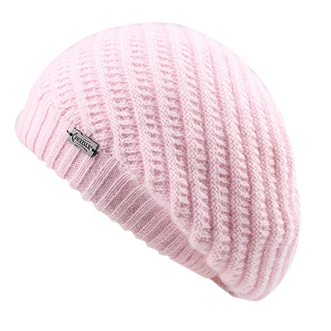 FURTALK Berretto francese per donna Cappello a treccia in maglia di lana  angora da donna  Amazon.it  Abbigliamento c78e18e4540d