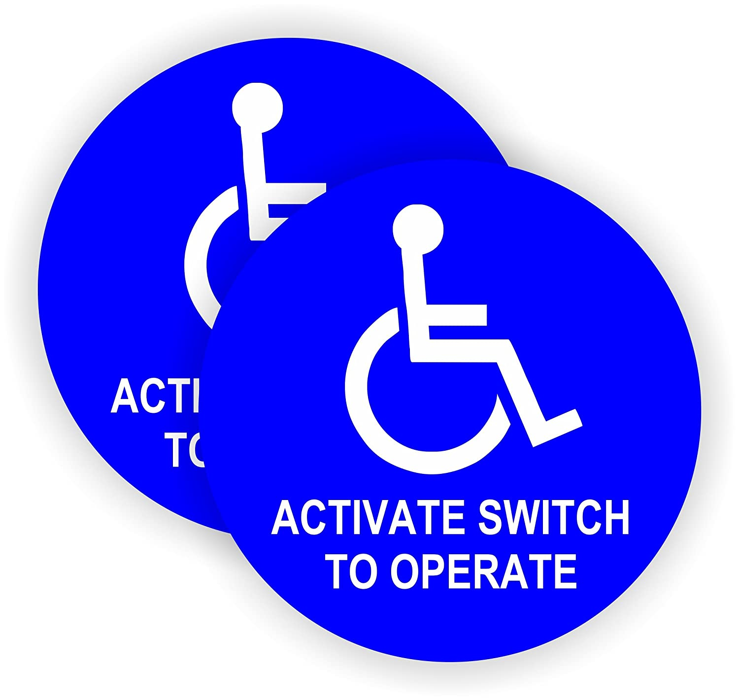 Pair 5 inch round activate switch to operate handicap automatic door decals weatherproof vinyl stickers glass entry labels small business office