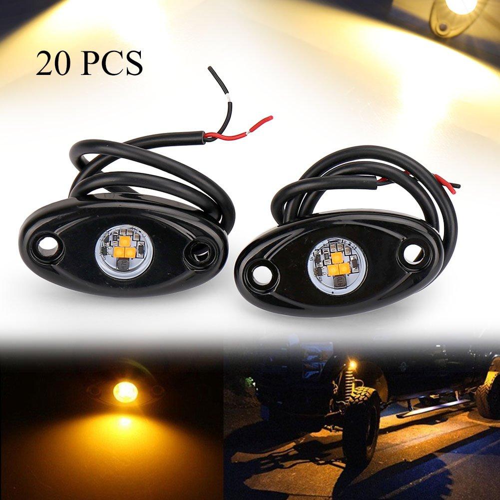 GZYF 自動車 LED ロックライト アンダーライト テールランプ 個性的な 多機能 カーledイルミネーション LEDシャーシ 装飾照明 防水 高輝度 イエロー 20個入り B07CKSWQ6L  10