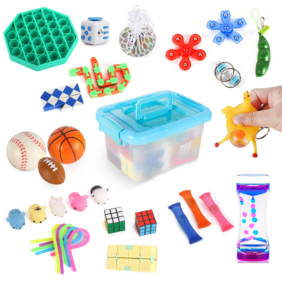 Fidget Toys Pack Set with Stress Balls Spinner Infinity Cube Tangle Simple Dimple Fidget Popper Push Pop Bubble Bike Chain Liquid Motion Timer Pea Stretchy String Snake Marble Mesh Sensory Toy Box