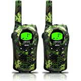 Kids Walkie Talkies, UOKOO 22 Channels and Back-lit LCD Screen (up to 6KM in open areas) Walkie Talkies for Kids (1 Pair) ArmyGreen T668