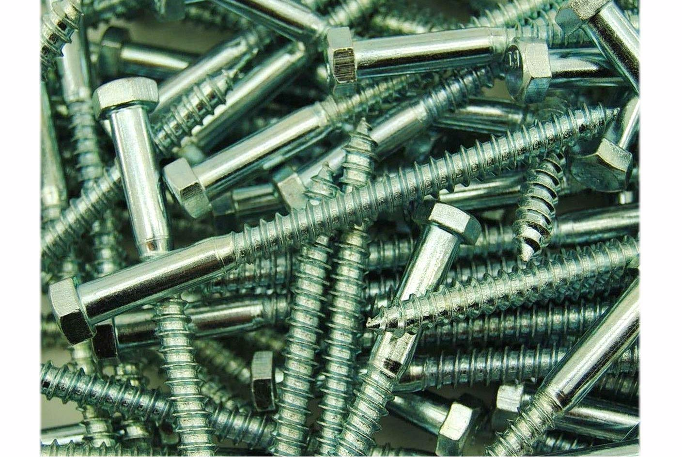 pcs New Package of 25 Hex Head 1//2 x 6 inch Lag Bolts Zinc Plate Wood Screws Set #MO1182-P Warranity by Pr-Mch