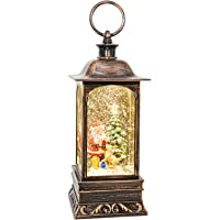 Snowglobes Christmas with Timer, Santa Claus Decoration LED Lantern with Glitter Great and Home Decoration (No Music)