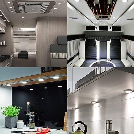 BRAUTO 12V Luz Interior del Punto Gabinete LED Luz Bajo de Armario con Adaptador para Camper Caravan Barco Cocina Armario Pack de 6: Amazon.es: Coche y moto