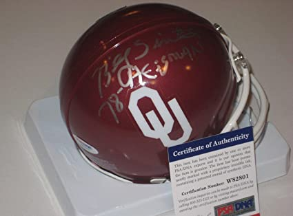 Amazon.com  BILLY SIMS (Oklahoma Sooners) Signed Mini-Helmet w COA ... 40242259d