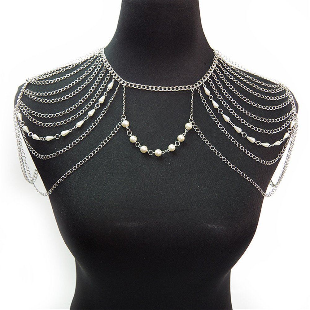 SIYWINA Body Chain with Pearls Harness Multirow Necklace Shoulder Body Chain(White)
