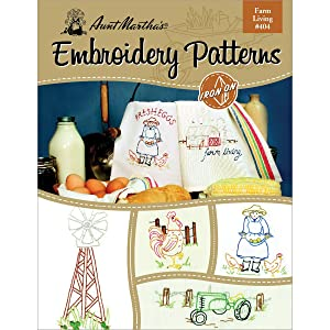 Aunt Martha's 404 Farm Living Embroidery Transfer Pattern Book, Over 25 Iron On Patterns