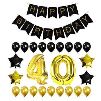 40th Birthday Decorations Balloon Banner Party Supplies Office Black And
