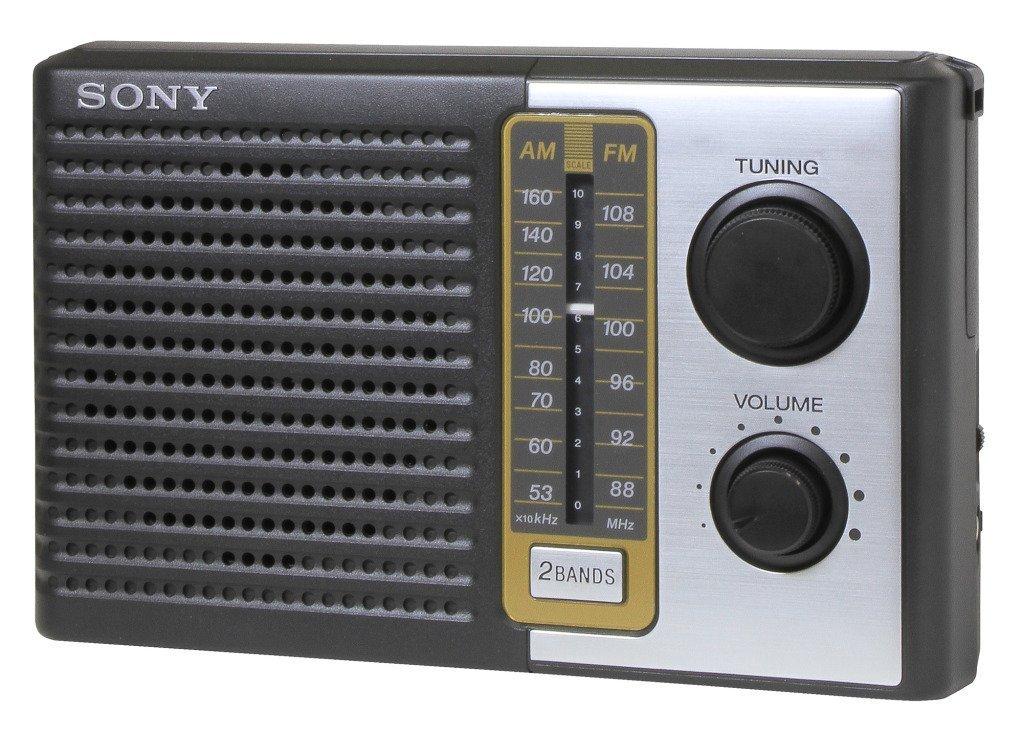 Sony 2 Band Receiver Portable AM & FM Transistor Radio with Large Dial Panel, 3.75'' Speaker, Earphone Jack, Carry Strap, Easy Tuner Knob, Headphone Jack & Telescopic Ferrite Bar Swivel Antenna - Battery Powered