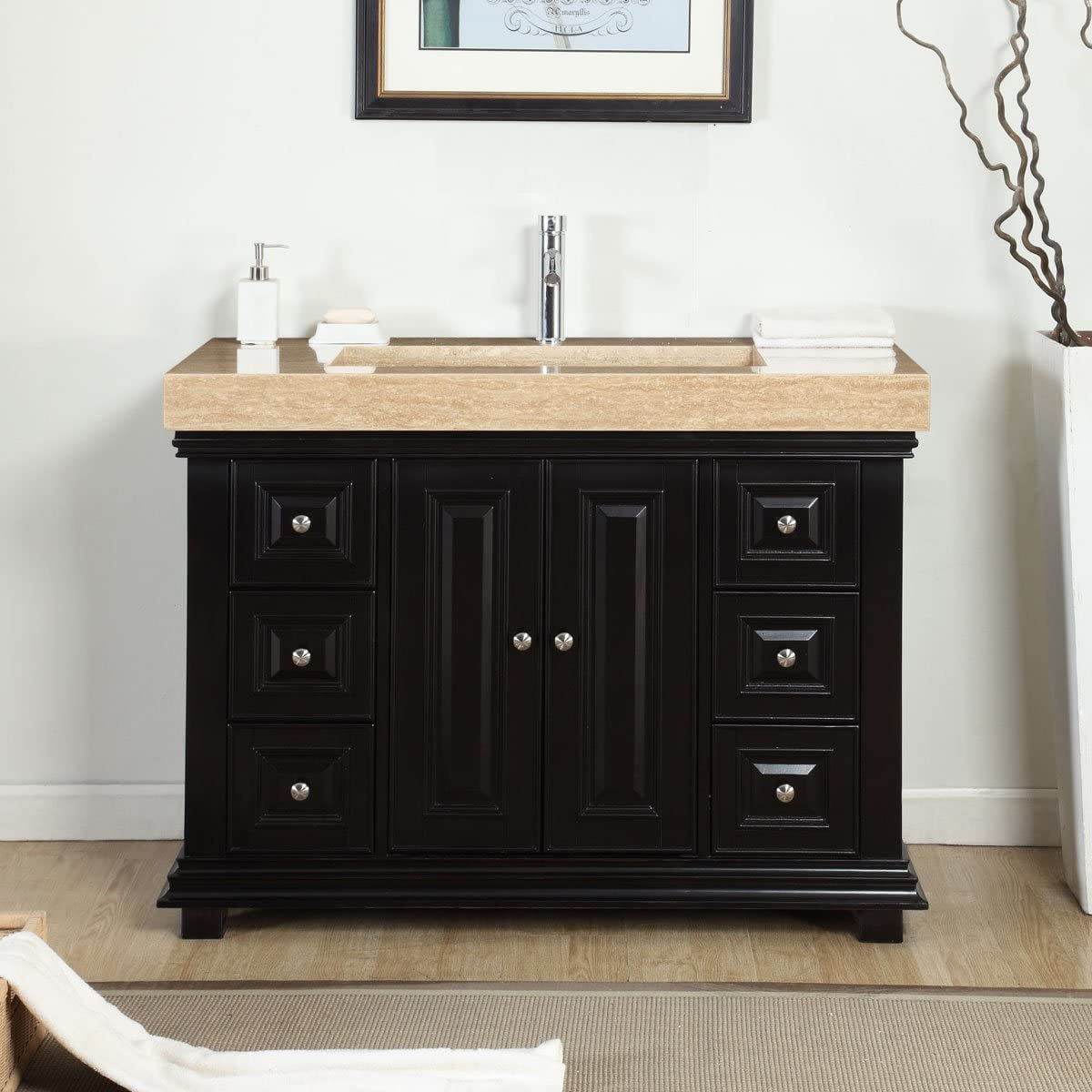 Silkroad Exclusive V0284TR48C 48 Single Sink Cabinet with 7 Drawers 2 Doors Travertine Top and Ramp Sink 1-Hole in Espresso