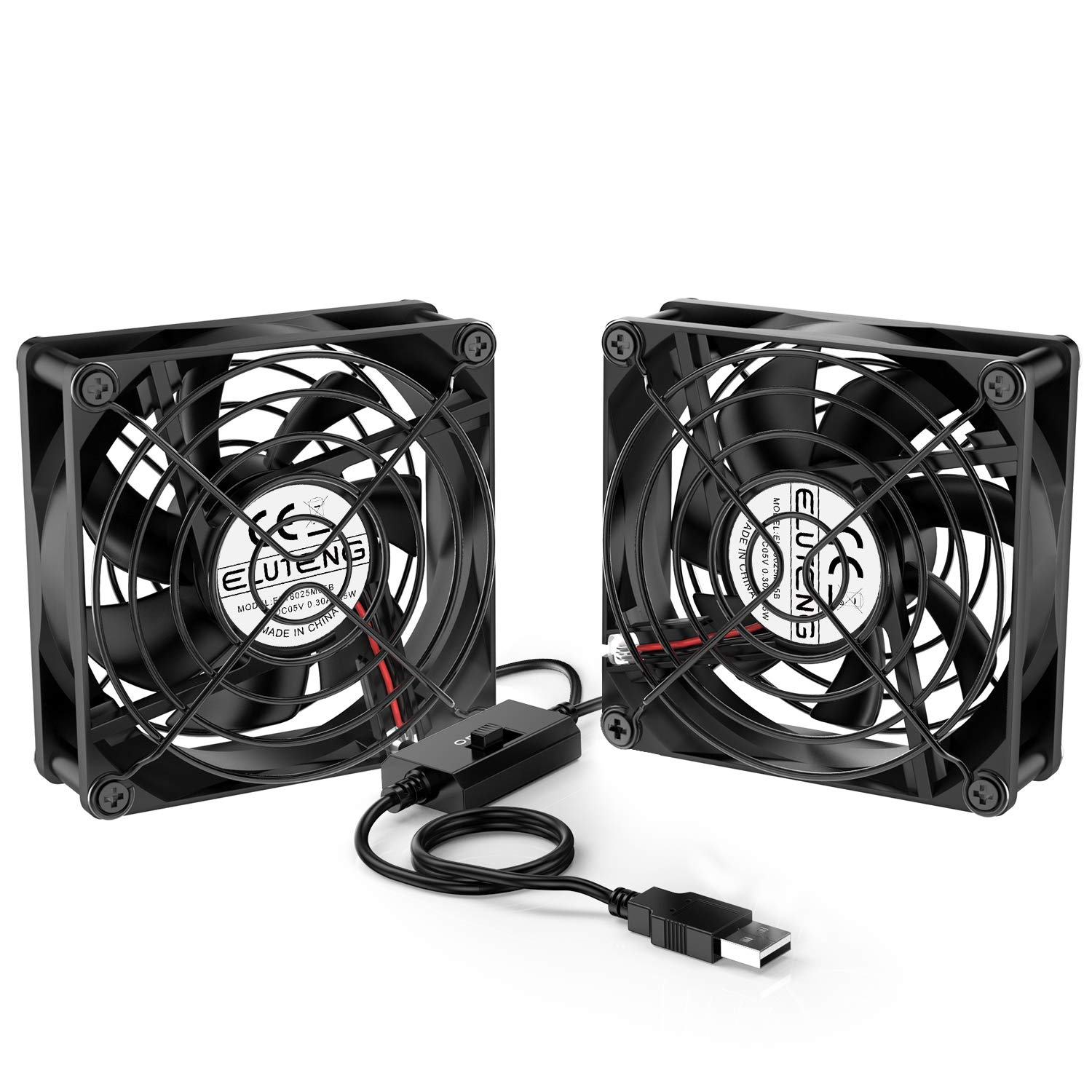 ELUTENG Dual USB Fan 80mm, 3 Speed Adjustable USB Ventilator with 2750RPM 5V Fan for Computer/Laptop/Router/TV Cabinet/DVR/Xbox/Game Console Cooling