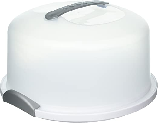 Set of 2 15 Litre White Plastic Cake Storage Boxes Food Containers Holders Caddy