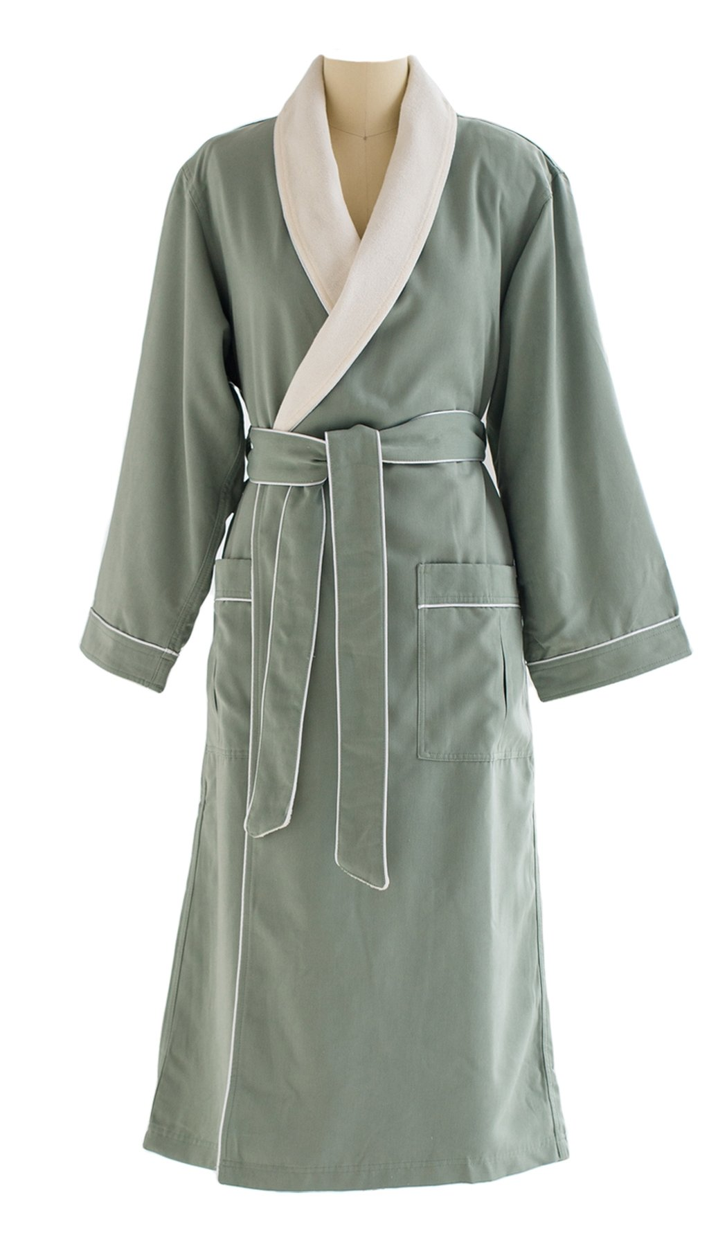 Ultimate Doeskin Microfiber Bathrobe Lined In Terry - Luxury Spa Bathrobe for Women and Men - Seafoam/Eggshell - X-Small