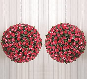 2 x large 30cm topiary pink red rose artificial hanging basket 2 x large 30cm topiary pink red rose artificial hanging basket flower bay balls sl134 mightylinksfo