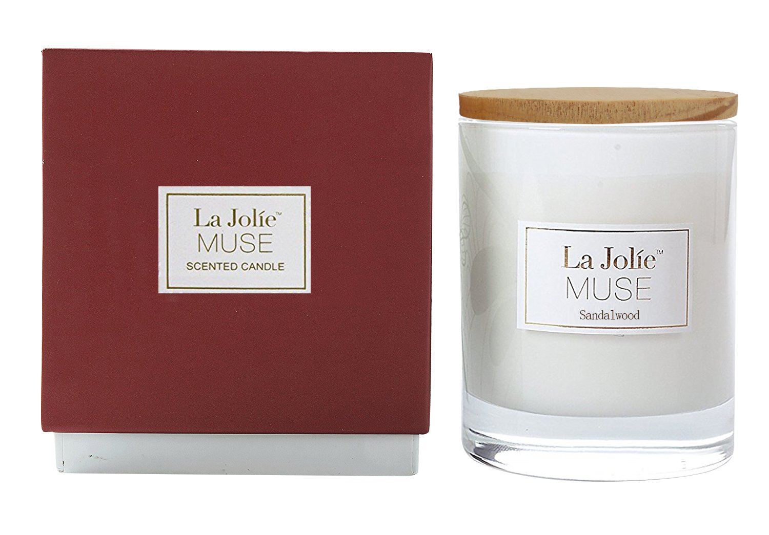 LA JOLIE MUSE Wood Wick Soy Candles Sandalwood Scented Glass Jar Candle, 45 Hours Burning, Gift