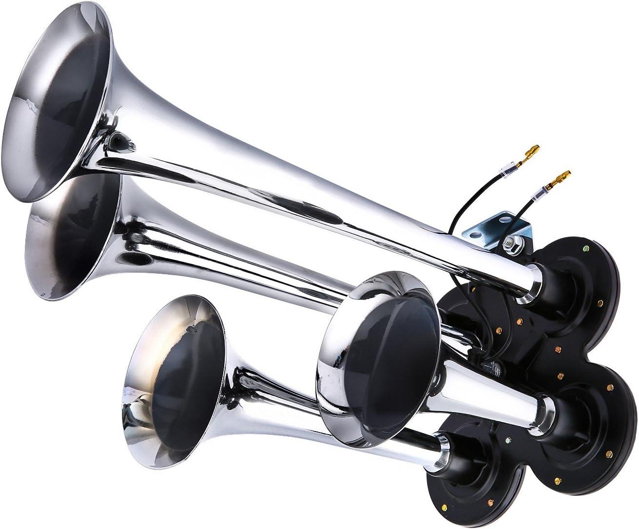 150DB Train Air Horn Kit 4 Trumpet Train Horn Kit with 120 PSI Air Compressor 1.5 Gal Air Tank for Car Truck Train Van Boat Silver