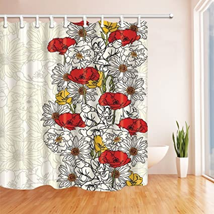 GoHeBe Vector Red Flowers With White And Yellow Shower Curtains Mildew Resistant Polyester Fabric Bathroom Decorations