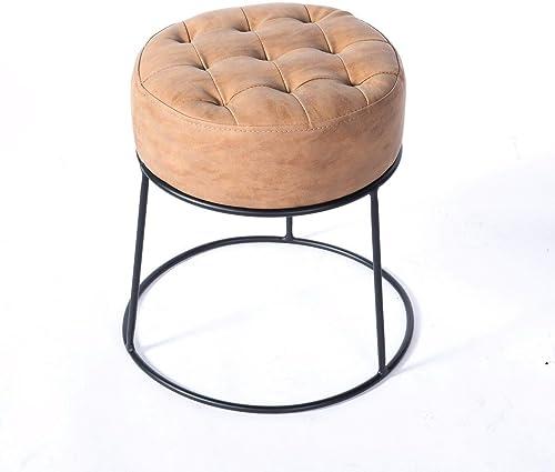 Art Leon Small Round Ottoman Short Ottoman Stackable Footstool Ottoman Leather Pouf Ottoman Foot Rest