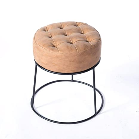 Incredible Art Leon Small Round Ottoman Short Ottoman Stackable Footstool Ottoman Leather Pouf Ottoman Foot Rest For Living Room Vanity Dorm Apartment 14 17 X Theyellowbook Wood Chair Design Ideas Theyellowbookinfo