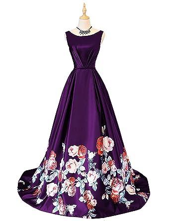 WDH Dress Womens Printing Flower Evening Dress Satin Lace Up Prom Dress 30