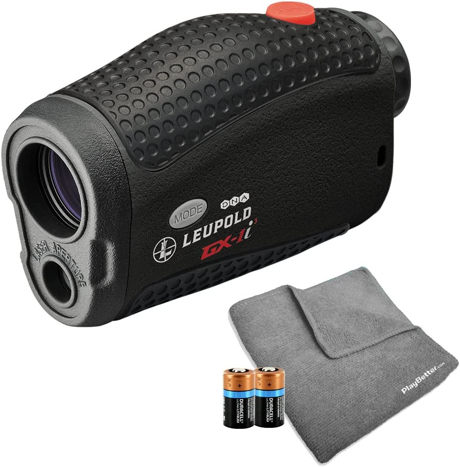 Leupold GX-1i3 Golf Rangefinder Bundle with PlayBetter Microfiber Cloth & Extra CR2 Battery | Includes Laser Rangefinder, Microfiber Cleaning Towel, Carrying Case & Two (2) CR2 Batteries