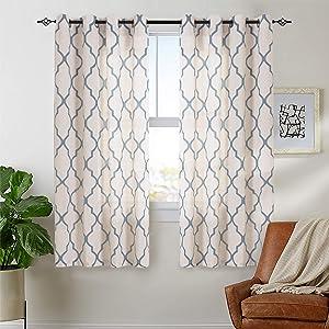 "jinchan Moroccan Tile Print Curtains for Living Room Quatrefoil Flax Linen Blend Textured Geometry Lattice Grommet Window Treatment Set for Bedroom 50"" W x 72"" L 2 Panels Blue"