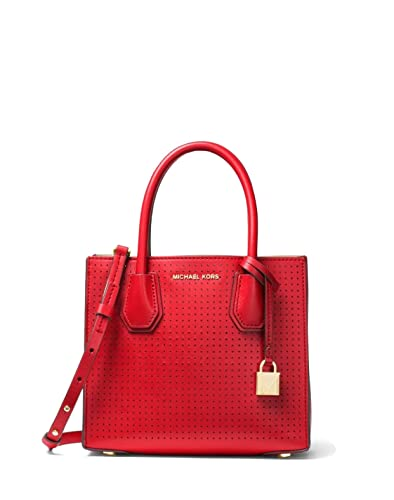 50a235f12b5f1a MICHAEL Michael Kors Mercer Perforated Leather Medium Crossbody Bag - Red:  Handbags: Amazon.com