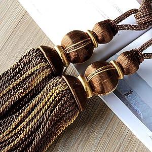 NEWUEBEL European Style High-Grade Curtains Tieback Rope Tassel Holdbacks for Home Decoration,Set of 2 (Coffee)