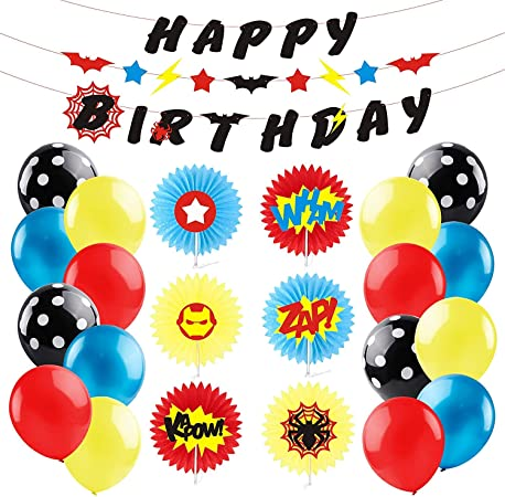Pantide Superhero Party Supplies Kit With Inspired Sounds Pattern Paper Fans Happy Birthday Banner Garland Red Yellow And Blue Balloons For Kids Birthday Party Decorations Party Packs Amazon Canada