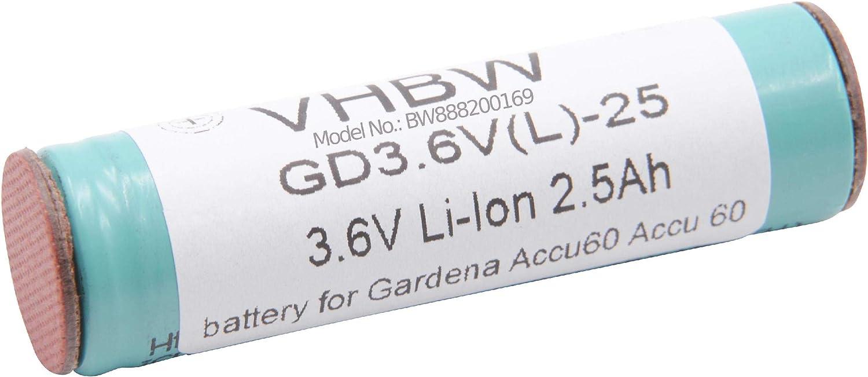 3.6V para herramienta el/éctrica powertools tools K/ärcher WV2 Plus WV50 Plus vhbw Li-Ion bater/ía 2000mAh WV2 Premium WV70