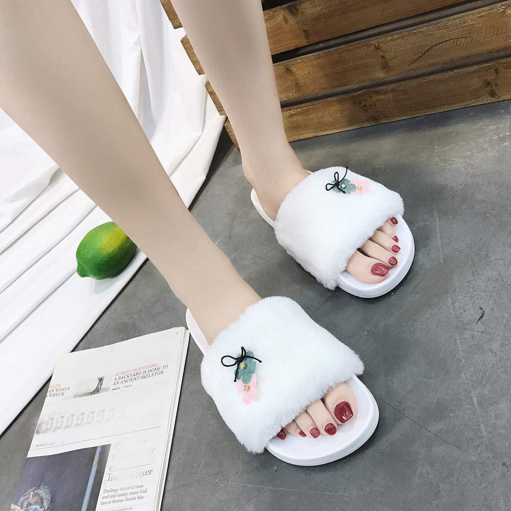 Slippers For Women, Clearance Sale !! Farjing Slip On Sliders Fluffy Faux Fur Flat Slippers Flip Flop Sandals(US:7,White1) by Farjing (Image #2)
