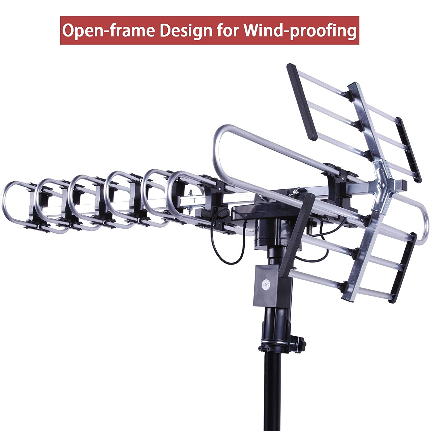 UHF//VHF//FM Radio with Infrared Remote Control Advanced Design Plus Installation Kit FiveStar Outdoor HD TV Antenna Strongest Up to 200 Miles Long Range with Motorized 360 Degree Rotation