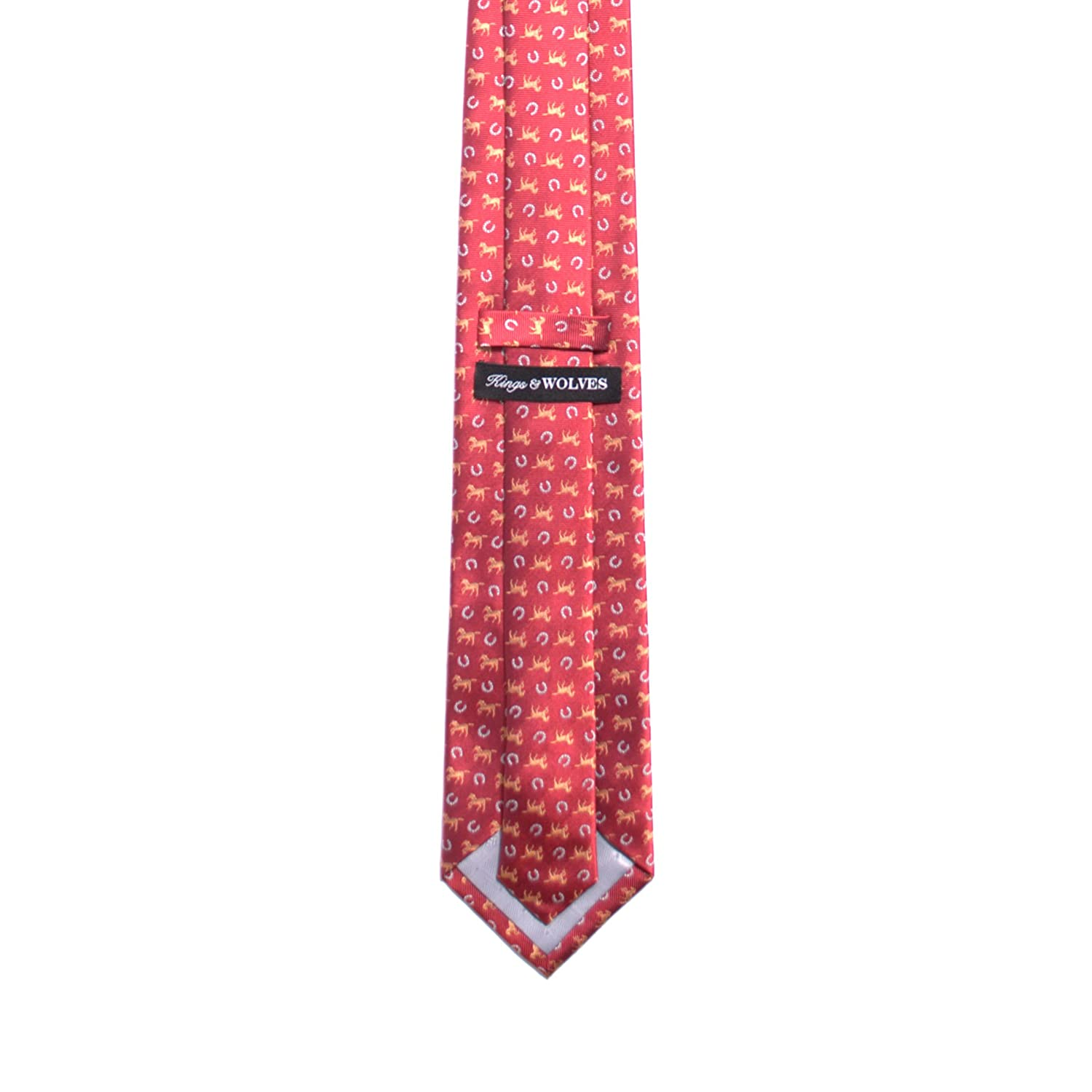 Red Kings and Wolves Mens 100/% Silk Neckties Jacquard Horseshoe Tie