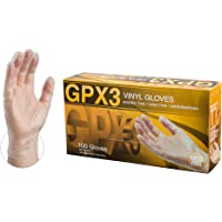 GPX3 Industrial Clear Vinyl Gloves - 3 mil, Latex Free, Powder Free, Disposable, Xlarge, GPX348100-BX, Box of 100